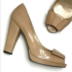 Stuart Weitzman Nude Patent Leather Bow Heels